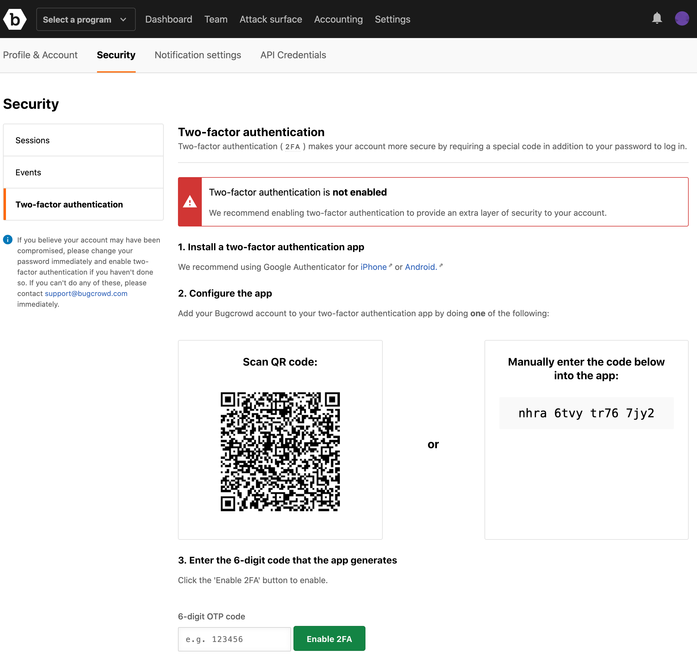 two-factor authentication page